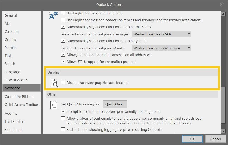 Advanced Outlook option to Disable hardware graphics acceleration