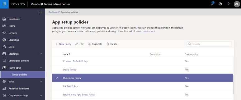 App Setup Policies in the Microsoft Teams admin center