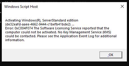 Server 2019 Volume licensing activation key not working