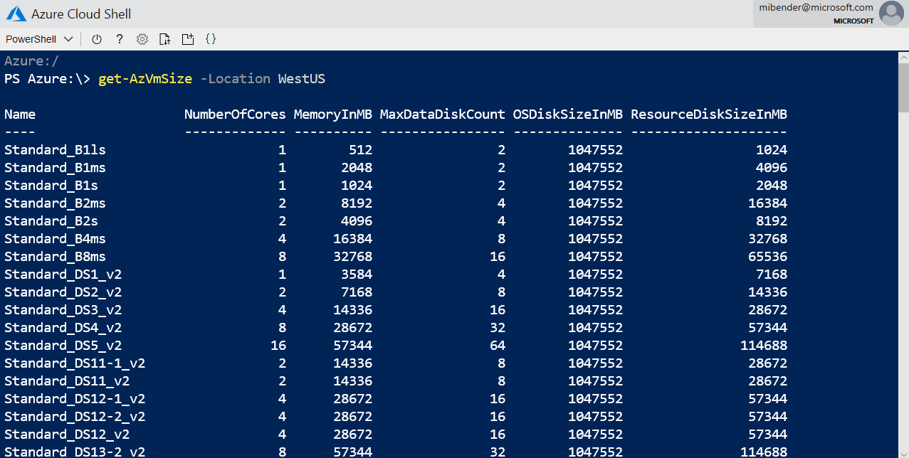 PowerShell Basics: Finding the right VM size with Get-AzVMSize