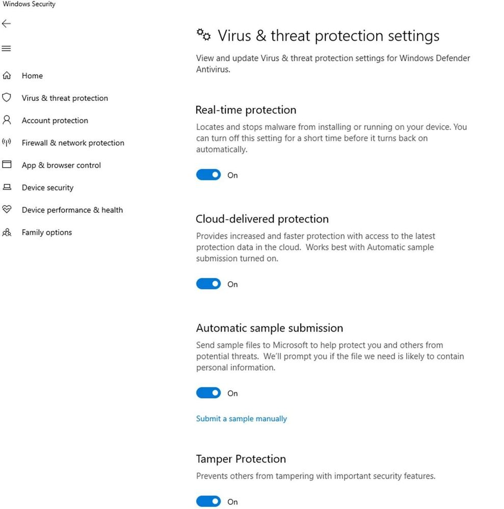 Windows 10 V1903 get Windows Defender Tamper-Protection