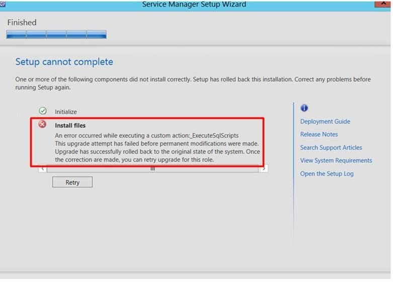 upgrade from system center 2012 service manger to 2016 fails