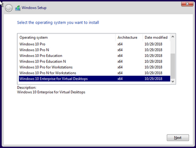 Windows 10 build 1809 Enterprise for Virtual Machines Local Admin