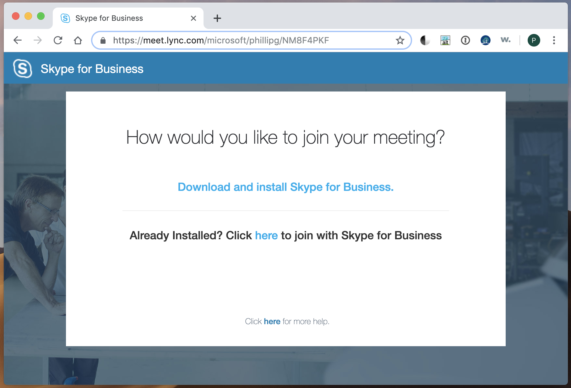 Skype for Business desktop now available as web download app