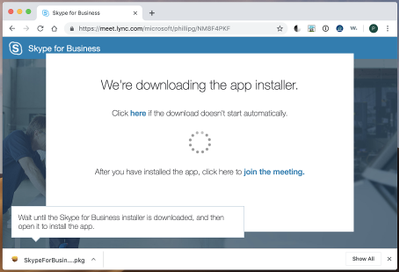 Web page for downloading the SfB app installer