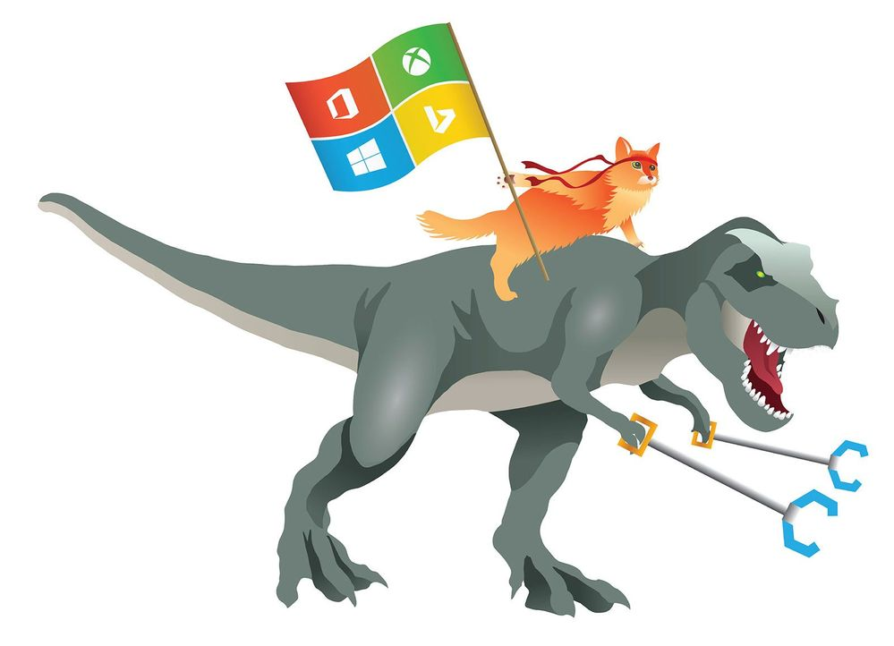 Example A - Ninjacat riding t-rex with robot arms