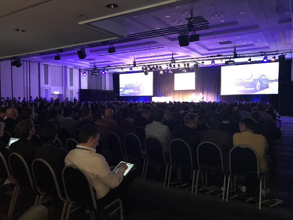 The audience listening to James Phillips at the Frankfurt keynote.