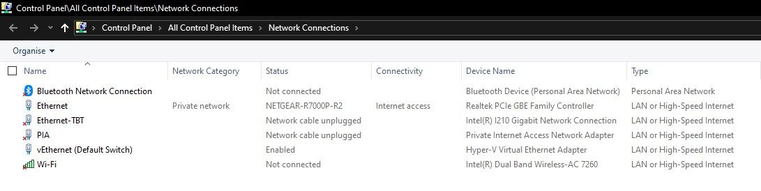 Hyper-V Default switch IP address range change  Ver 1809 Build
