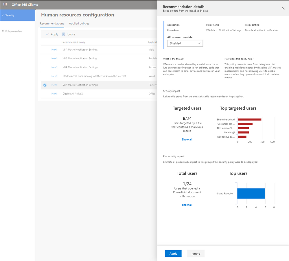 Announcing Security Policy Advisor Preview for Office 365 ProPlus