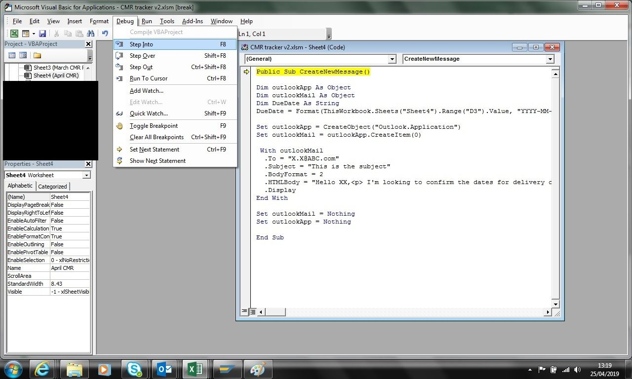 VBA Coding - inserting dates into body of email - Microsoft