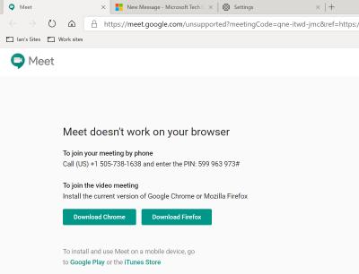 Latest Dev Chromium build no longer compatible with Google Hangouts