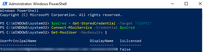 cred = Get-Credential without asking for prompts in
