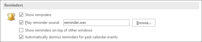 Option to dismiss reminders for past events