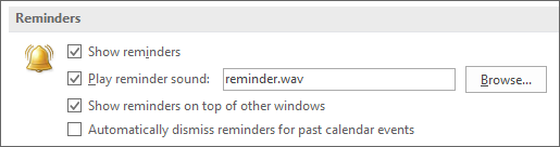 Option to show reminders on top of other windows
