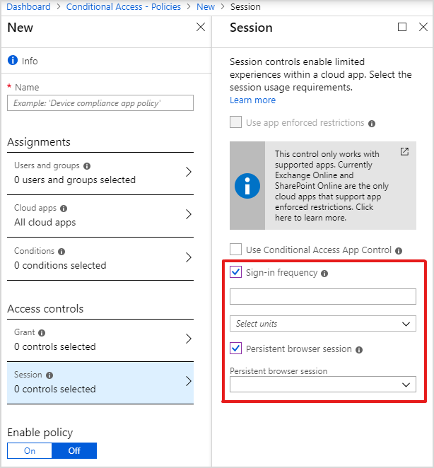 Manage authentication sessions in Azure AD conditional