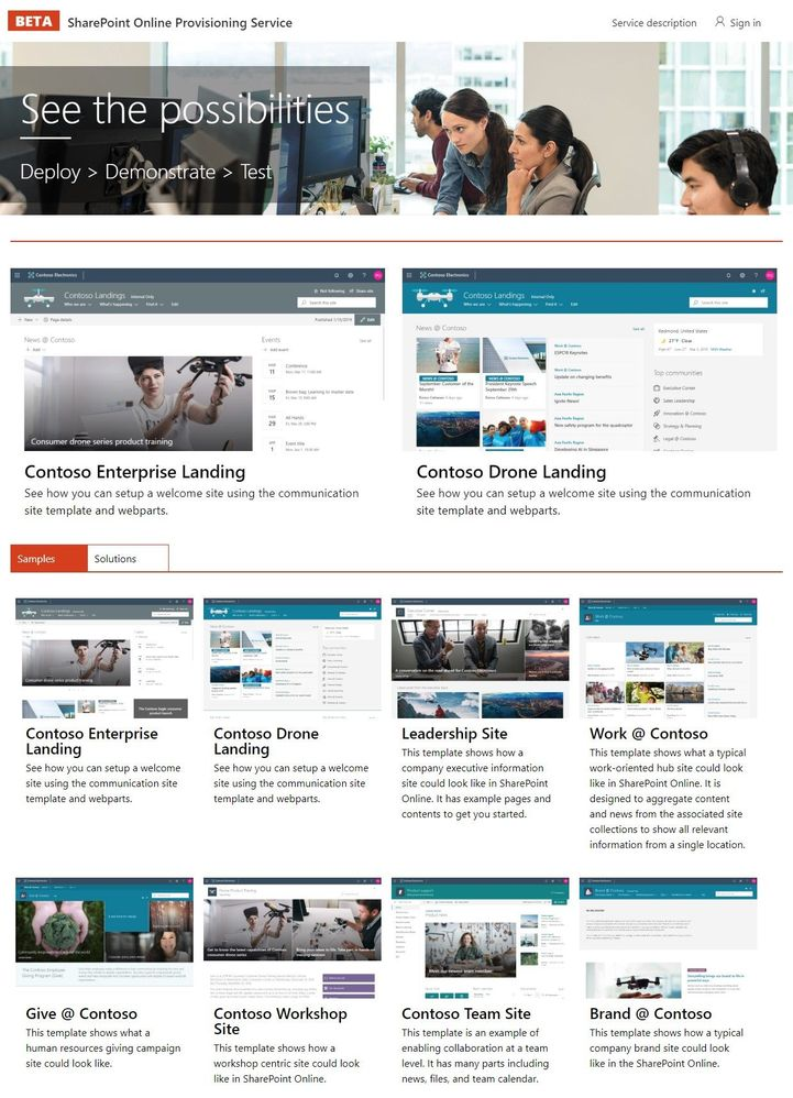 Visit the SharePoint Online Provisioning Site (Public Preview) today and try out one of the SharePoint Look Book samples in your own Office 365 tenant (https://provisioning.sharepointpnp.com).