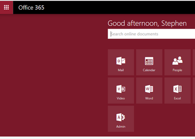 Office 365 home page / main menu background color always