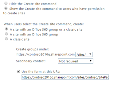 Site creation settings in SharePoint Admin Center