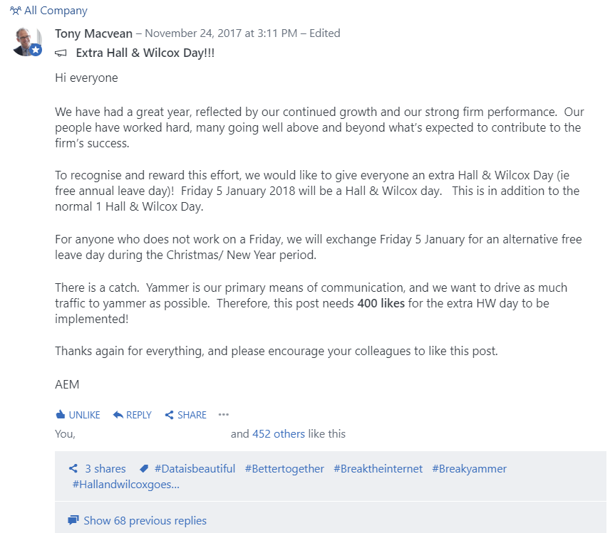 Instant Yammer engagement. Just give everyone a day off!