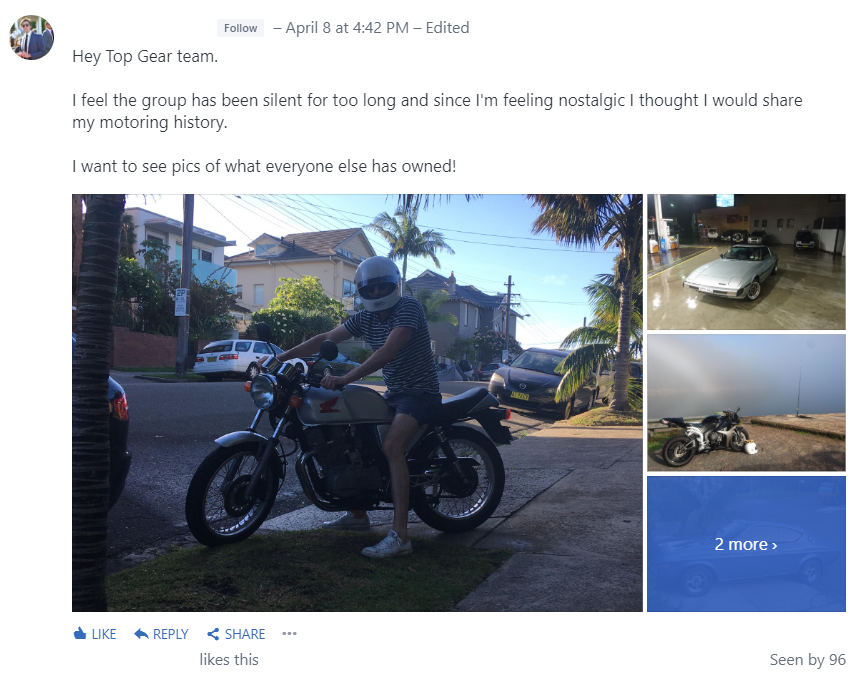 Users share their personal stories in the Top Gear group