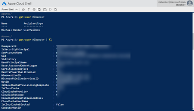 View user objects in Azure Cloud Shell using Get-User