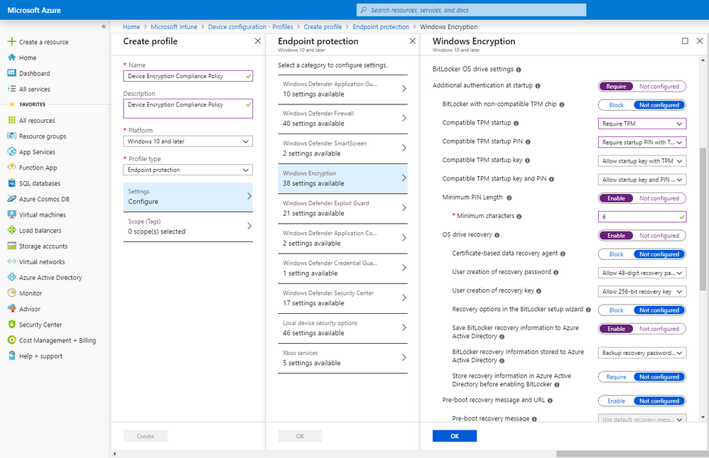 Microsoft Intune Endpoint Protection portal with example settings – With 38 BitLocker Encryption settings, you can customize the settings for your company.