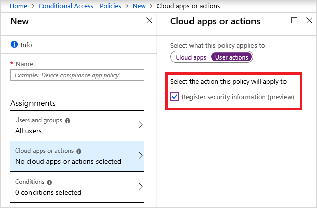 Conditional access for the Azure AD combined MFA and password reset registration experience