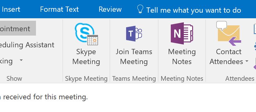 Microsoft Teams add in for Microsoft Office seen in Outlook