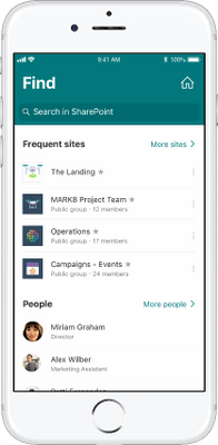 One touch access to your home site from anywhere in the SharePoint mobile app