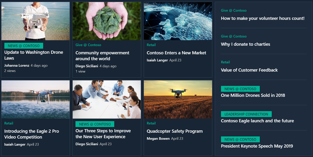 Visually highlight news from organizational news sites for employees