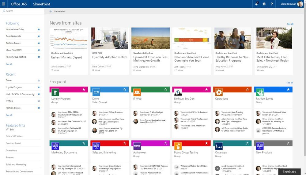 SharePoint home in Office 365 ...