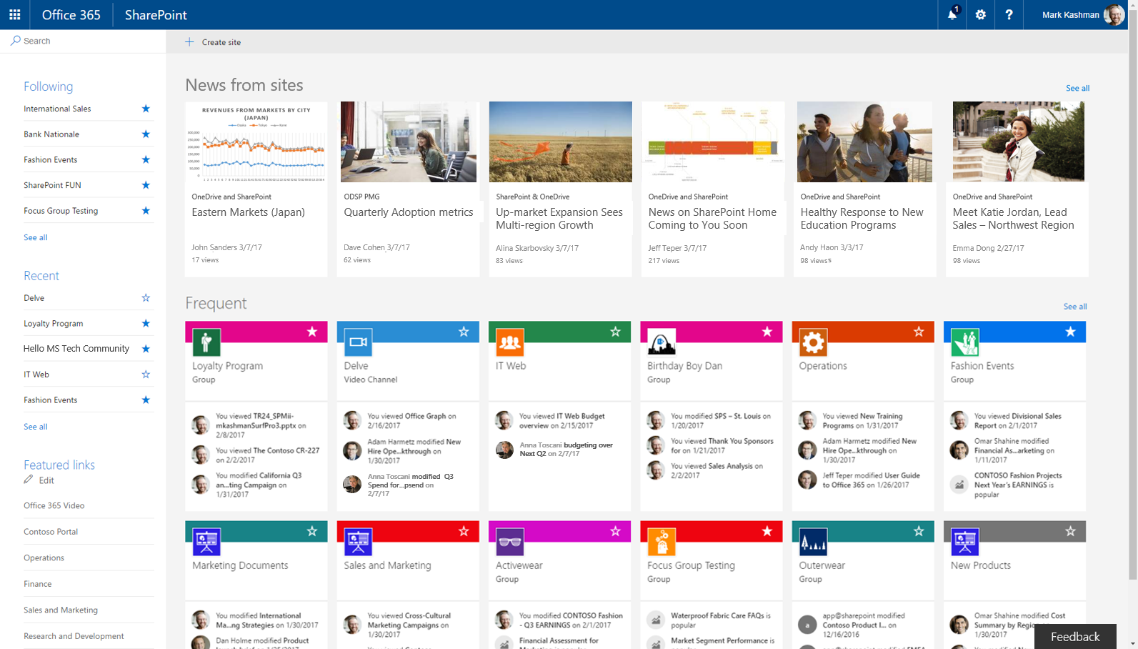 Sharepoint Home In Office 365 And Team News Updates Across Web Mobile