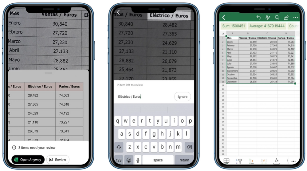 "Left: A smart preview is generated after you crop the image. You can select any cell in this view to zoom into the source data. Center: Review and correct (or ignore) low-confidence entries, which are highlighted in red. Right: Tap ""Insert"" after reviewing potential issues to insert the final data into Excel."
