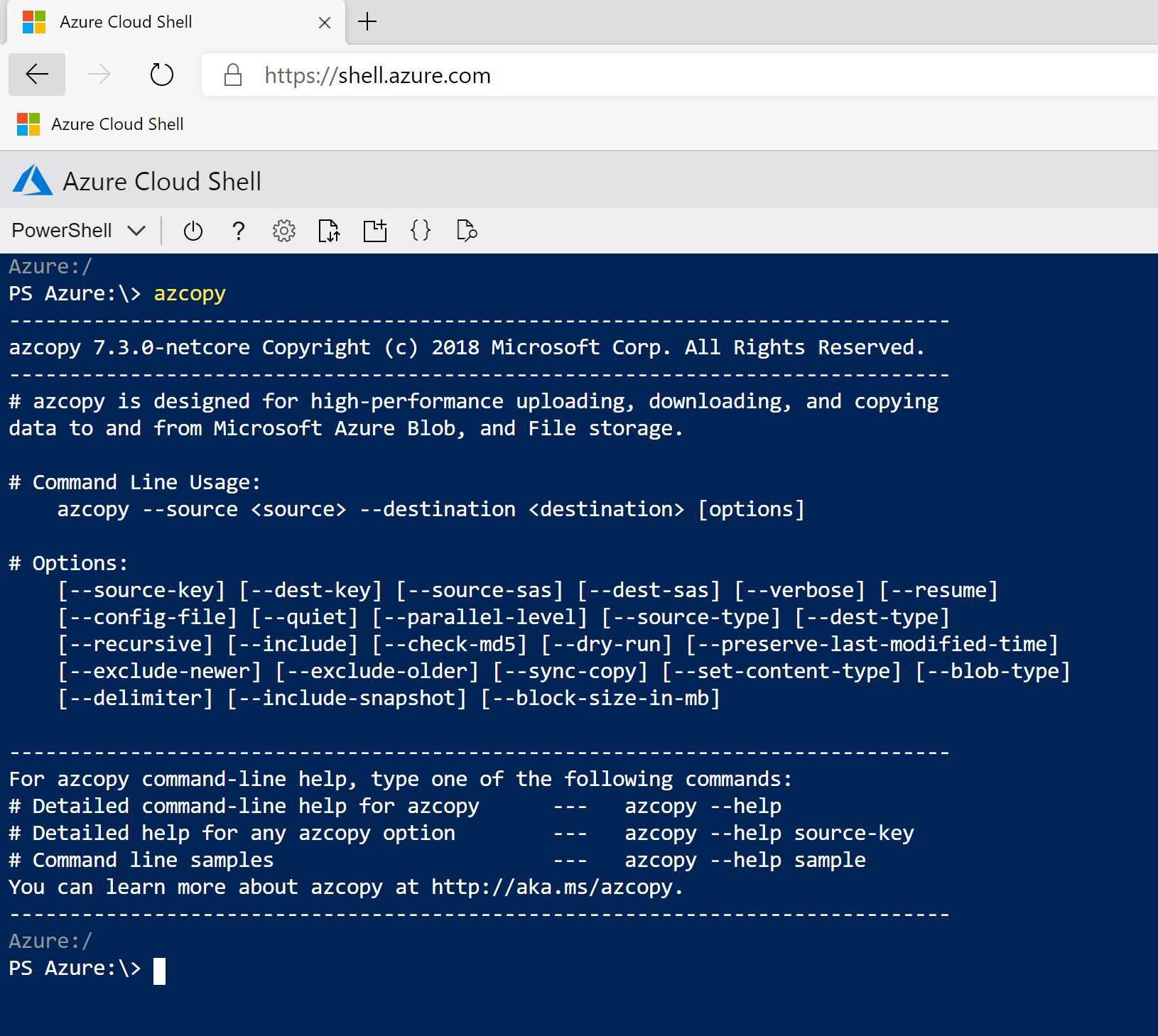 Microsoft Azure CloudShell for Management tasks - Microsoft