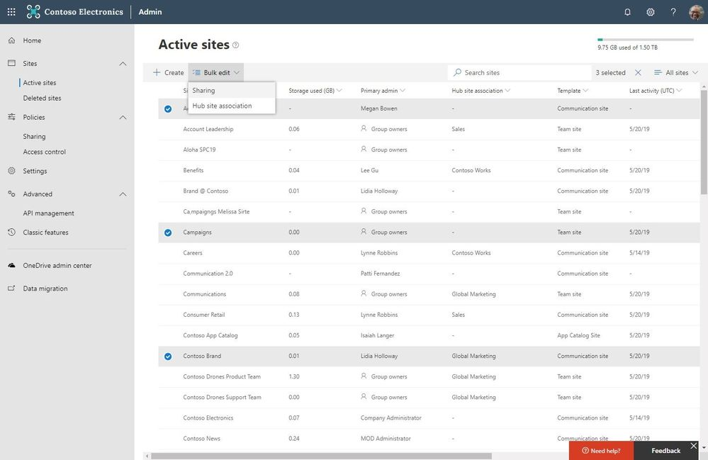 In the SharePoint admin center in Office 365, you can now multi-select sites to bulk edit Sharing and Hub site association, or delete numerous sites in one action.