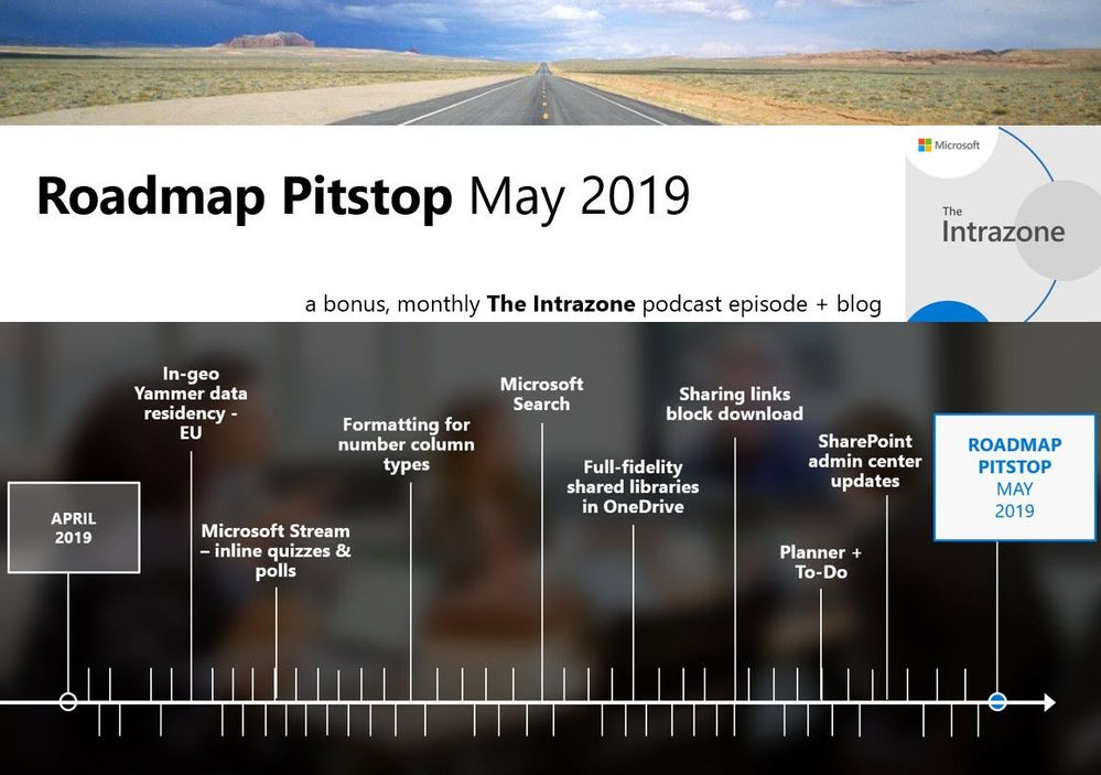 The Intrazone Roadmap Pitstop - May 2019 graphic showing some of the highlighted features released in May 2019.