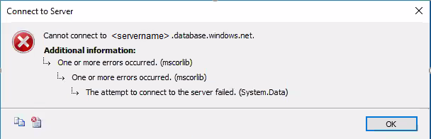 Attempt to connect to server failed : mscorlib - Microsoft Tech