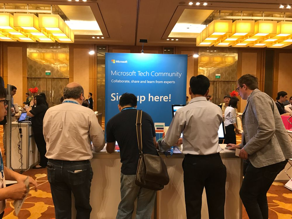 The Tech Community booth at the Singapore Tech Summit signing up new members!