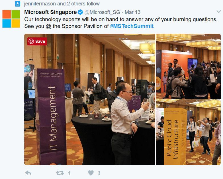 Tweet from the Microsoft Singapore team capturing the action from the Singapore Tech Summit Ask the Experts.