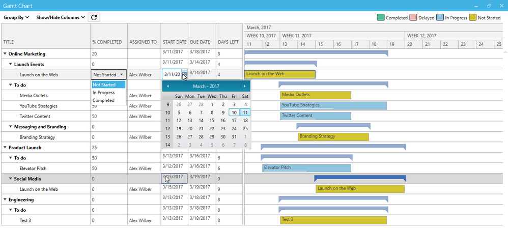 gantt chart export import tasks advanced filters and grouping