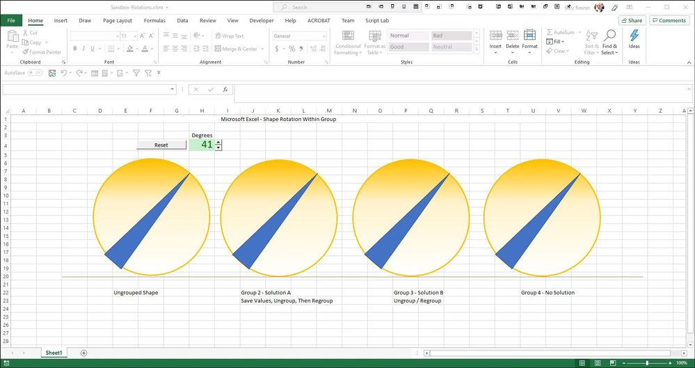 Excel VBA Shape Rotate makes unwanted Move and Resize to Shape Group