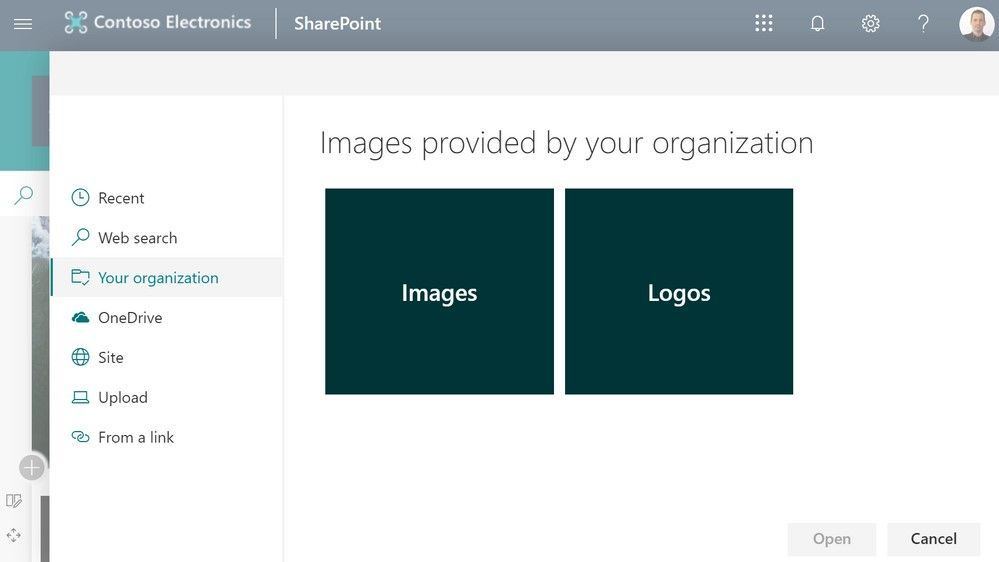"""Once established, people can browse for organization assets by clicking """"Your organization"""" when adding an image page and news headers, image/gallery web parts and more."""