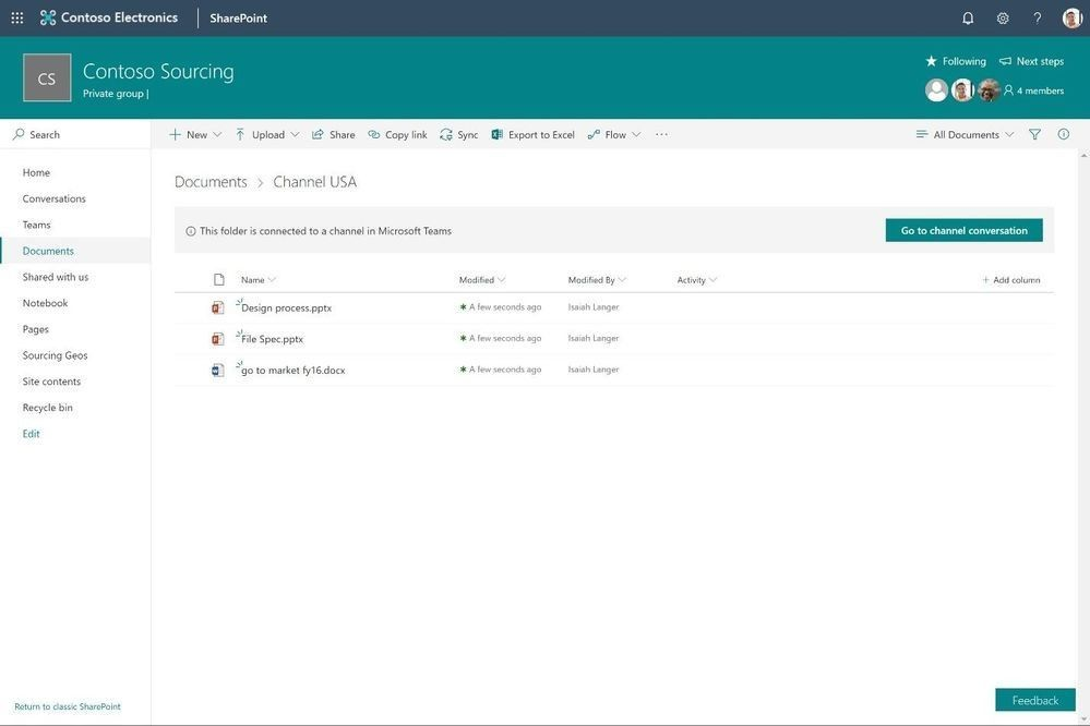 """When a group-connected SharePoint team site is connected to Microsoft Teams, you will see a """"Go to channel conversations"""" button indicating that the folder is connected to a Teams channel."""