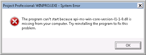 Error message - full text below