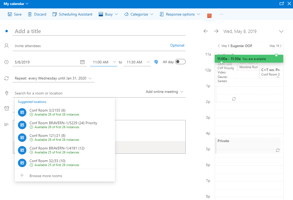 Easier Room Booking In Outlook On The Web Microsoft Tech