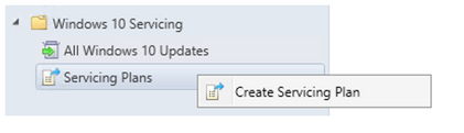 Creating a servicing plan in Configuration Manager