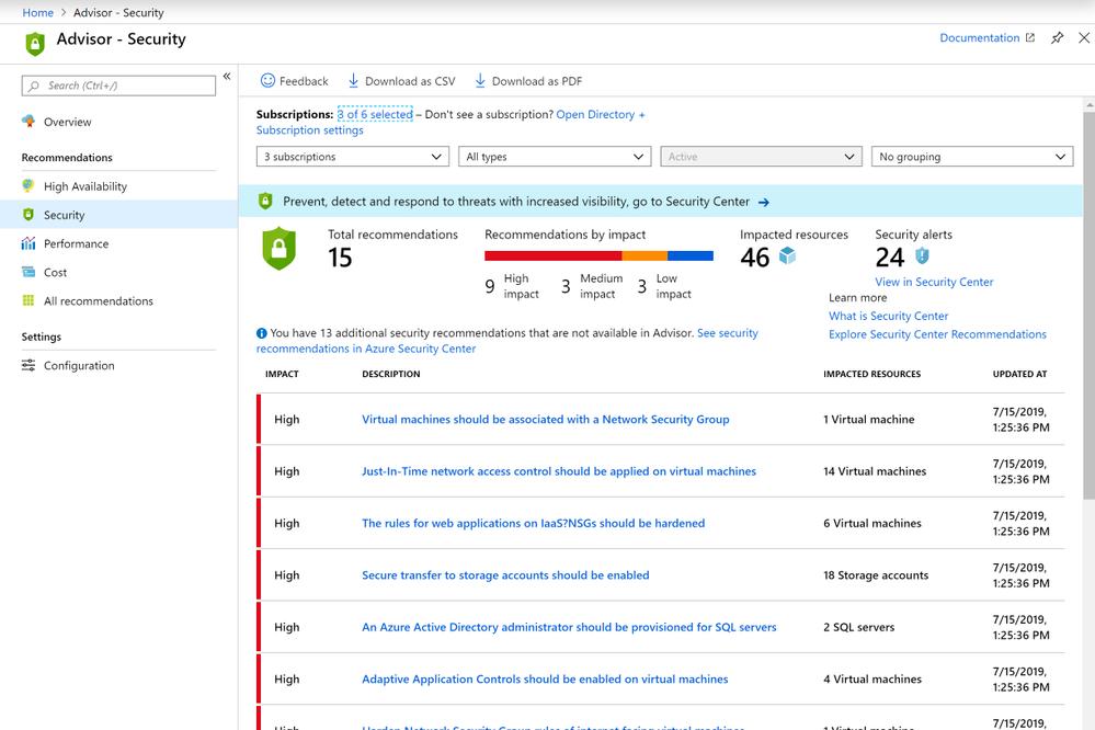 Azure portal July 2019 update