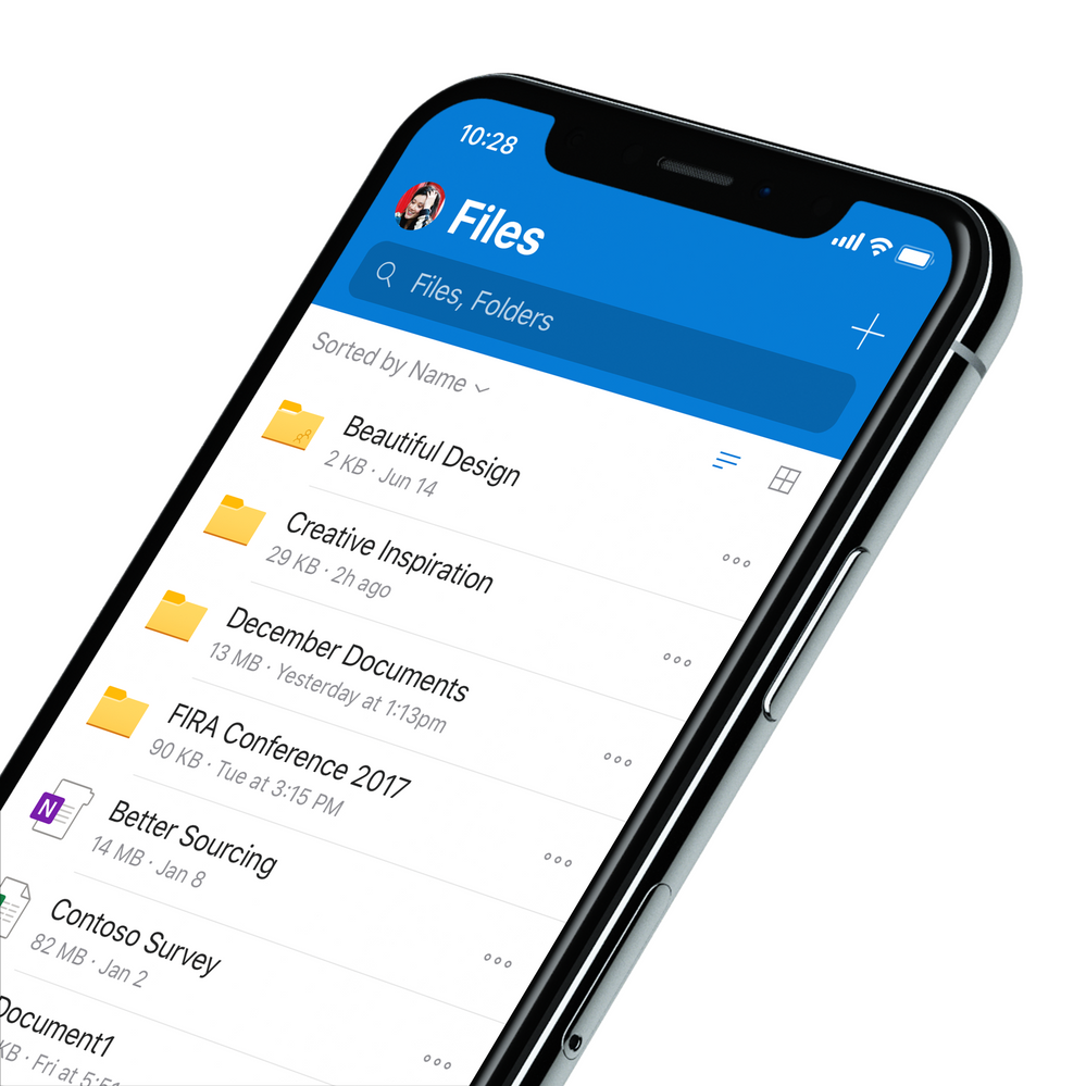 Revamped look and feel of OneDrive on iOS