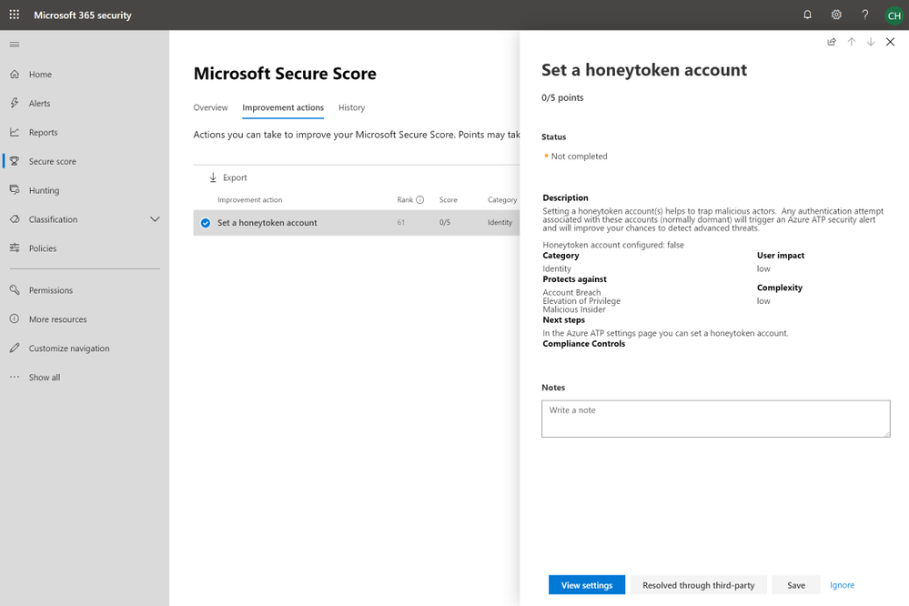 2019 - Blog 03 - Secure Score - Set a honeytoken account.png