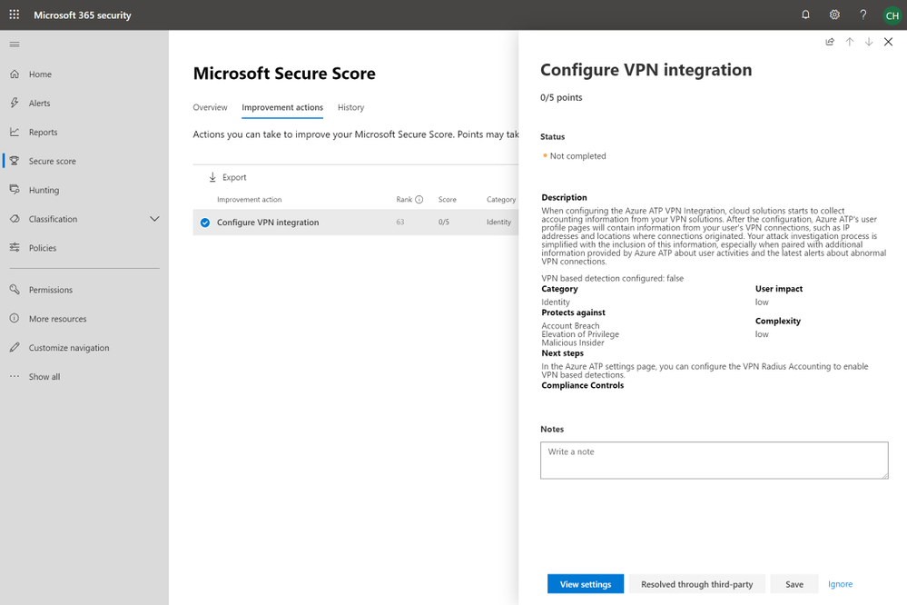 2019 - Blog 03 - Secure Score - Configure VPN integration.png